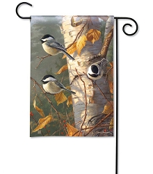 Chickadee Trio Garden Flag