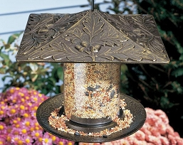Classic Oak Leaf Seed Tube Feeder Small French Bronze