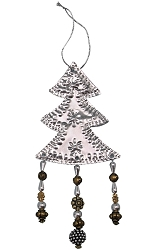Punched Metal & Bead Ornament Tree Set of 3