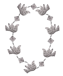 Punched Metal & Bead Garland Dove