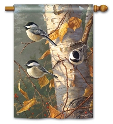 Chickadee Trio House Flag