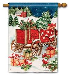 Christmas Farm Wagon House Flag