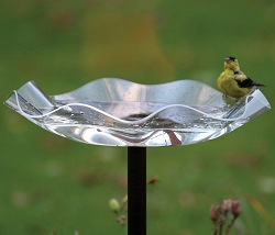 Acrylic Clear Swirl Pole Mounted Bird Bath
