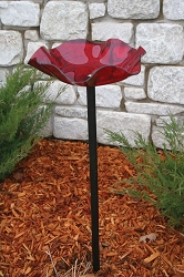 Acrylic Red Swirl Pole Mounted Bird Bath