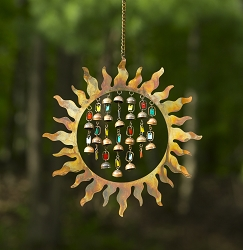 Flamed Copper Sun with Dangles Wind Chime