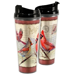 Northern Cardinal Postcard Acrylic Tall Tumbler 24 oz. Set of 2