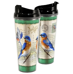 Eastern Bluebird Postcard Acrylic Tall Tumbler 24 oz. Set of 2