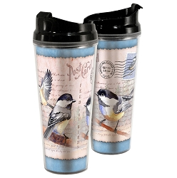 Black-Capped Chickadee Postcard Acrylic Tall Tumbler 24 oz. Set of 2