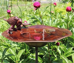 Achla Antiqued Birds Brass Birdbath Bowl