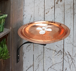 Achla Copper Dogwood Birdbath with Wall Bracket