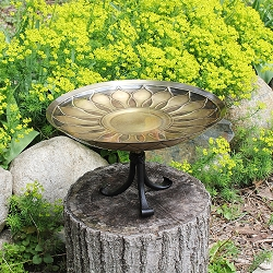 Achla African Daisy Antique Birdbath with Tripod Stand