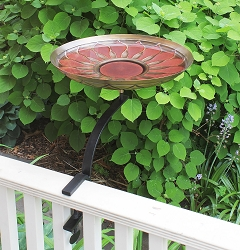 Achla African Daisy Red Antique Birdbath with Rail Bracket