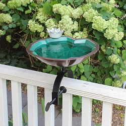 Achla Lily Pad Birdbath with Over Rail Bracket
