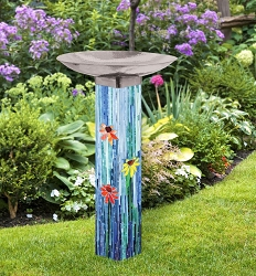 Mosaic Watercolor Art Pole Birdbath 5x5