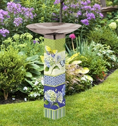 Butterfly Haven Art Pole Birdbath 5x5