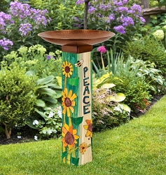Peaceful Day Art Pole Birdbath 5x5
