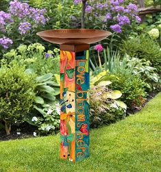 Love Garden Art Pole Birdbath 5x5
