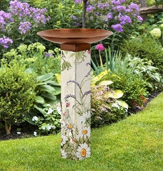 Farmhouse Garden Art Pole Birdbath 5x5