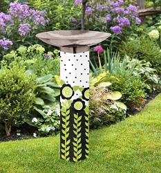 Fun Flowers Art Pole Birdbath 5x5