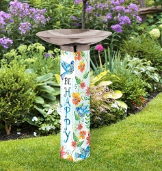 Happy Bluebirds Art Pole Birdbath 5x5