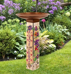 Our Hearts Remember Art Pole Birdbath 5x5