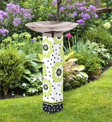 Polka Dots and Flowers Art Pole Birdbath 5x5