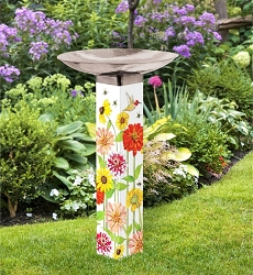 Birds and Bees Art Pole Birdbath 5x5