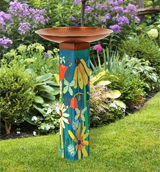 Earth Laughs in Flowers Art Pole Birdbath 5x5