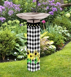 Checks and Yellow Daisies Art Pole Birdbath 5x5