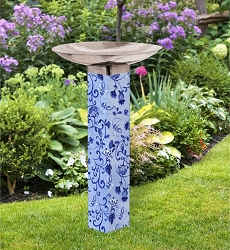 Garden Blues on Blue Art Pole Birdbath 5x5