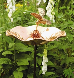 Achla Copper Hummingbird Birdbath with Stake