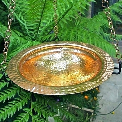 Achla Hammered Polished Copper Hanging Birdbath w/Rim