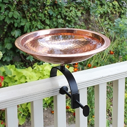Achla Hammered Copper Birdbath with Over Rail Bracket