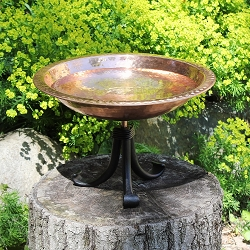 Achla Hammered Copper Birdbath with Tripod Stand