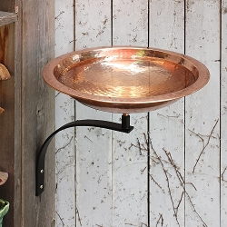 Achla Hammered Copper Birdbath with Wall Bracket