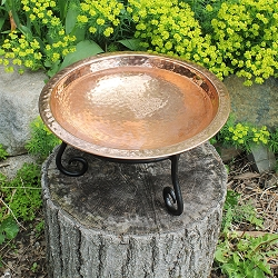 Achla Hammered Copper Birdbath with Short Stand