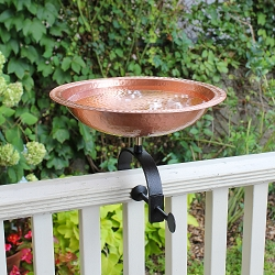 Achla Hammered Solid Copper Birdbath with Over Rail Bracket