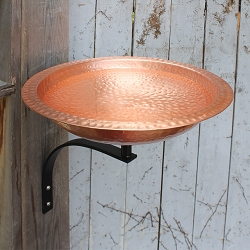 Achla Hammered Solid Copper Birdbath with Wall Bracket