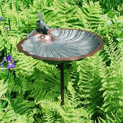 Achla Scallop Shell Birdbath with Stake