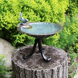 Achla Scallop Shell Birdbath with Tripod Stand