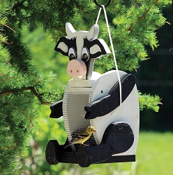 Amish Hand-Made Shaped Bird Feeder Cow