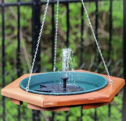 Classic Mini Hanging Bird Bath with Floating Leaf Solar Bubbler