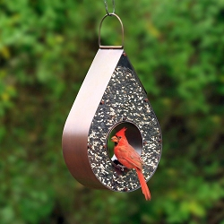 Teardrop Fly-Thru Copper Bird Feeder