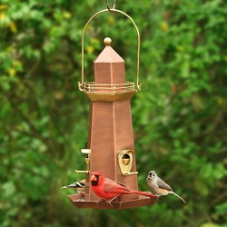Lighthouse Copper and Brass Bird Feeder