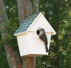 Classic Cottage Bird House with Copper Shingled Roof