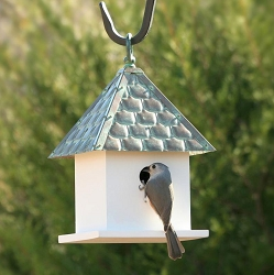 Bungalow Bird House with Copper Shingled Roof