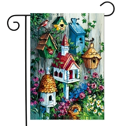 Briarwood Lane Birdhouse Gathering Garden Flag