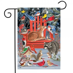 Briarwood Lane Snow Day Gathering Garden Flag