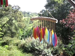 Santa Fe Colors Glass Leaves and Driftwood Wind Chime