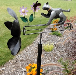 Grey Cat and Butterfly Whirligig w/Pole